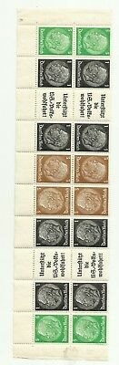 GERMANY 1930s Hindenburg tete beche block of 20 stamps and labels