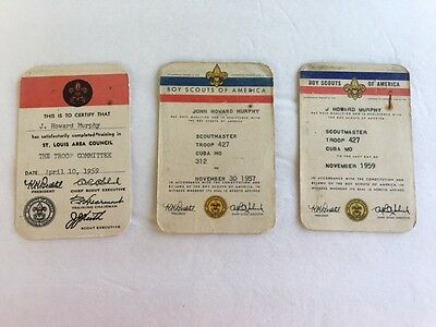 Boy Scouts of America  Membership Cards     Committee & Scoutmaster    1957/1959