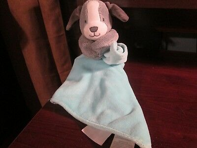 Carter's os gray puppy blue lovey security blanket VHTF