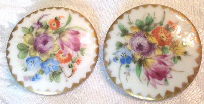 "Two (2) Antique Hand Painted Dresden Flower Porcelain Buttons Same Size 1.5"" Dia"