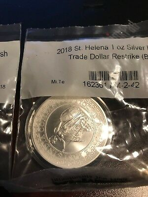 2018 St. Helena 1 oz .999 Silver British Trade Dollar Restrike BU  Coin