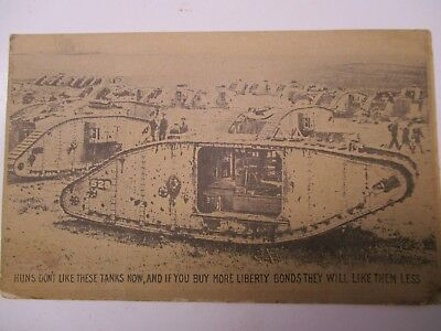 U.S. Army World War I Soldier Postcard with British Tank on Front