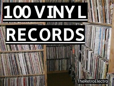 """Job lot 100 x 12"""" inch LP Vinyl Records - All Genres, Working! For Crafts? Arts."""