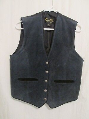 Men's Scully Blue Snap up Genuine Leather Western Vest Size L Tie Back  EUC