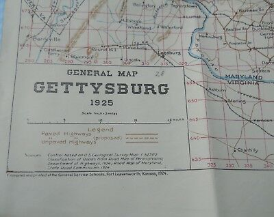 Vintage 1925 Gettysburg PA Topographical Military Railroad Railways Lines Map