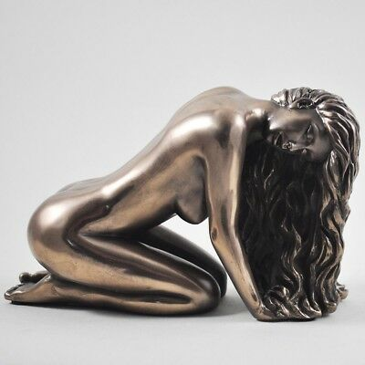 Suggestion Erotic Sexy Lady Bronze Sculpture Figurine Ornament Love Is Blue