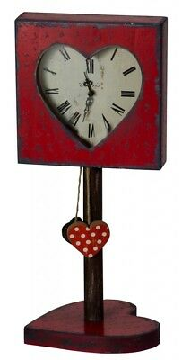 Shabby Chic Vintage Distressed Antique Style Red Heart Mantel Shelf Clock Stand