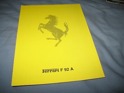 Ferrari F 92 A F1 spec brochure from 1992- 707/92
