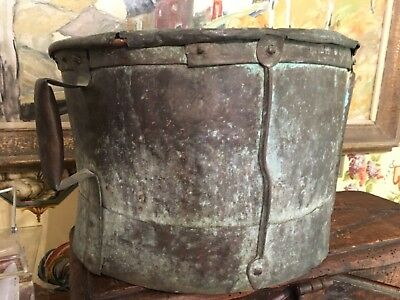 French Copper Metal Bucket Cauldron Pot 19th Century Signed Farmhouse