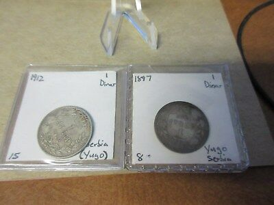 (2) Serbia 1 Dinar 1897 & 1912 Silver Lot of 2 Coins