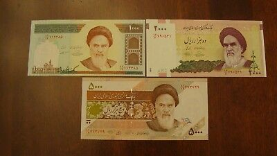 Lot of 3 Iran banknotes-1000,2000,5000 Rials-paper money currency Uncirculated