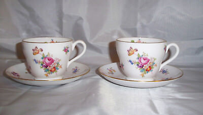 """Spode Copeland """"Dresden Rose"""" Footed Cups and Saucers - 2 Sets - MINT CONDITION!"""