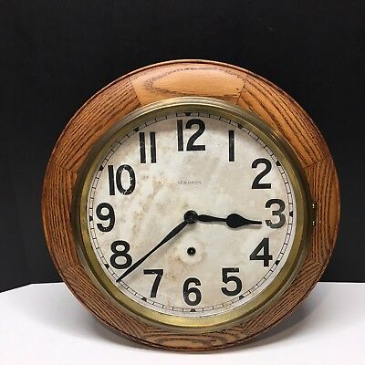 "RARE Antique  New Haven 16"" Round Oak Wall Clock - RUNS GREAT"