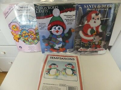 Assorted Plastic Canvas Kits Christmas / Spring / Penguins Ornaments / Decor