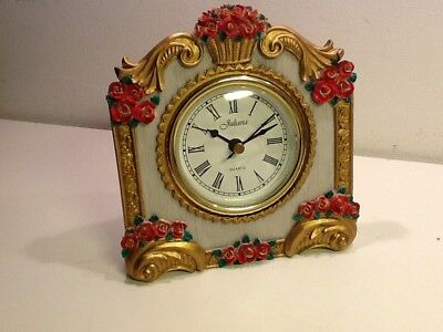 Vintage Juliana Rose Floral Quartz Desk/Mantel Clock, with second hand, fully wo