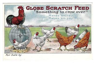 Globe Scratch Feed with Rooster, Hens Victorian Trade Card