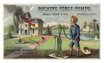Buckeye Force Pumps, Springfield, OH, Victorian Trade Card