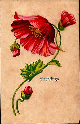 Postcard Greetings Floral card 1910 Postmark