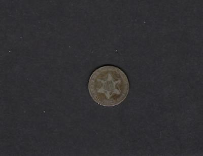 US 1853 Three Cent Silver Coin in VG Very Good Condition!