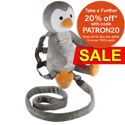 Playette 2in1 Toddler/Kids Harness/Backpack Buddy Deluxe Penguin Soft Plush 18m+