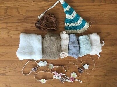 Lot of Newborn Photo Props: Wraps, Knitted Hats, Headbands