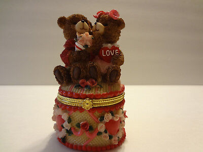 Teddy Bear Roses Heart Love Porcelain Trinket Box