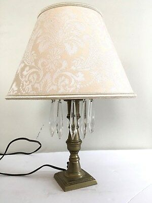 """Vtg Antique Small Brass w/ Hanging Crystals Lamp 13"""" with Shade 9"""" without"""