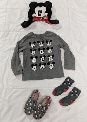 Baby Gap Disney Boys Lot 4T - 5T Mickey Mouse Shirt, Hat, Shoes, Socks EUC