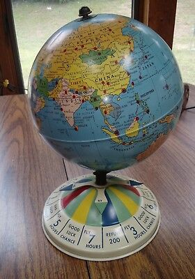 Vintage 1960s Replogle Tin Litho Toy Air Race World Globe Spinner Colorful