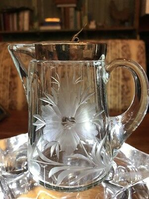Antique Maple Syrup Lidded Pitcher Etched Floral Clear Crystal Metal Top