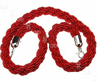 1.5M  Queue Divider Crowd Control Stanchion Twisted Red Barrier Rope AU