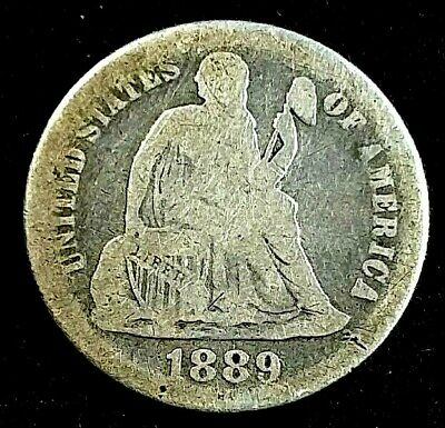 1889-P 10 Cent Liberty Seated Dime US Silver Coin **