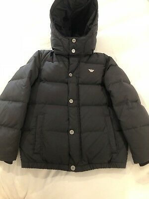 Armani Junior Boys puffer navy blue down Jacket $350 Size 8 Excellent Wow