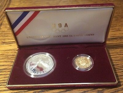 1988 US Mint Olympic Commemorative Gold (W) & Silver (S) 2 Coin Proof Set
