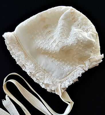VINTAGE, ANTIQUE EXQUISITE SILK VICTORIAN, BABY'S BONNET ~ RARE PIECE of HISTORY