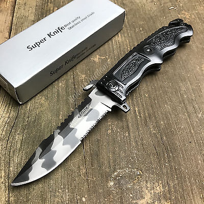"""8 3/4"""" Spring Assisted Open Urban Camo Tactical Rescue Emergency Folding Knife"""