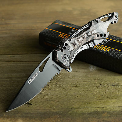 TAC Force Fall Camo Spring Assisted Part Serrated Tactical Folding Knife New!