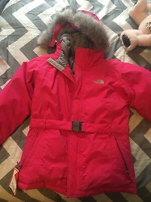 The North Face Pink Winter Coat! Youth Large 14/16 With Fur On Hood! Super Cute!