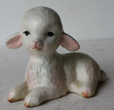 Lamb-Sheep Lying Down Figure Ceramic-Porcelain Hand Painted-Adorable-Vintage
