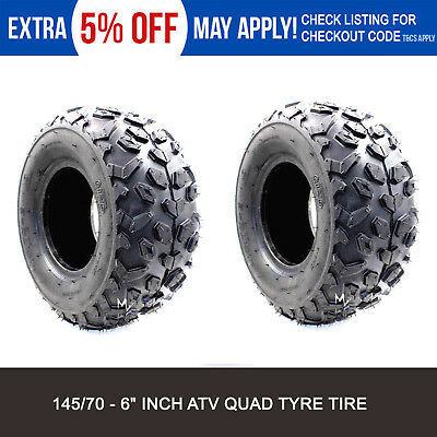 "2x 145/70-6"" inch Tire/Tyre 70/110cc ATV Quad Bike Buggy Go Kart Mower Trailer"
