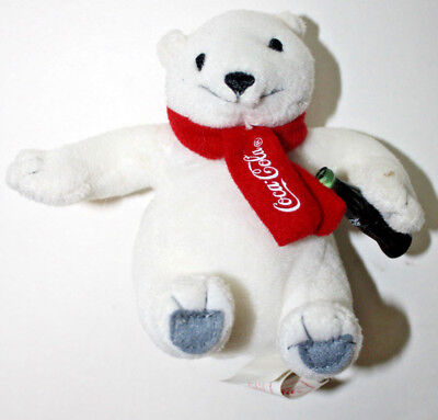 Coca Cola Plush White Polar Bear Stuffed Animal Toy Small 3 Sitting