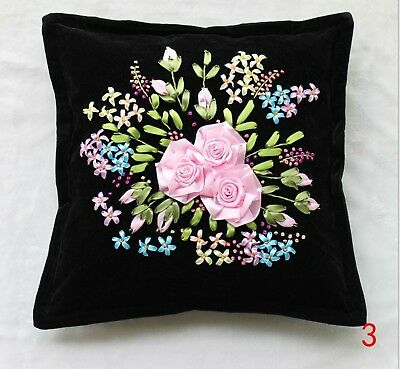 DIY Ribbon Embroidery Kit Pink Roses Cushion Cover Marked Pattern 45cm