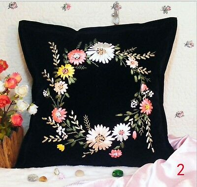DIY Ribbon Embroidery Kit Daisy Garland Cushion Cover Marked Pattern Black 45cm