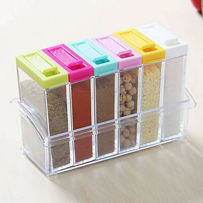 6 pcs/set Clear Spice Jar Kitchen Plastic Condiment Storage Container Rack