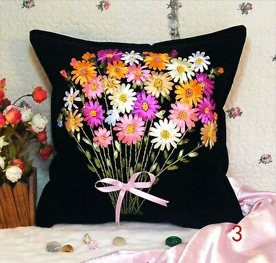 DIY Ribbon Embroidery Kit Daisy Bouquet Cushion Cover Marked Pattern Black 45cm