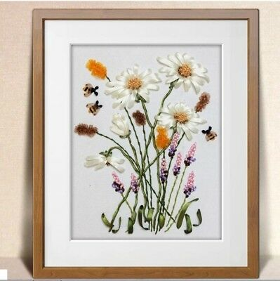 Wild Chamomile DIY Ribbon Embroidery Kit Marked Pattern Cotton Unframed 50x40cm