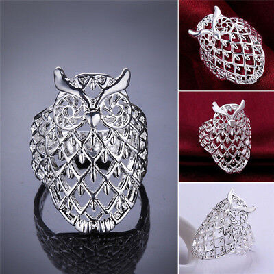 Fashion Animal Jewelry Cute Owl Hollow Ring Silver Plated Ring Size 6 7 8 9