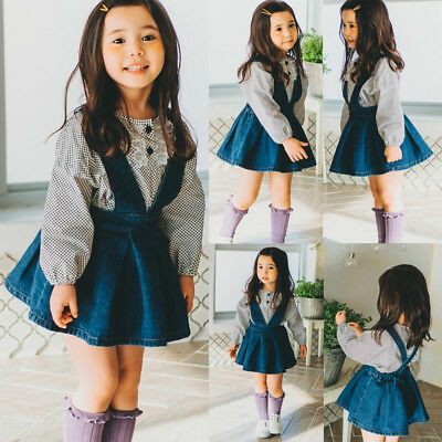 Toddler Baby Girls Suspender Skirt Overalls Infant Baby Skirts Summer Dress AU