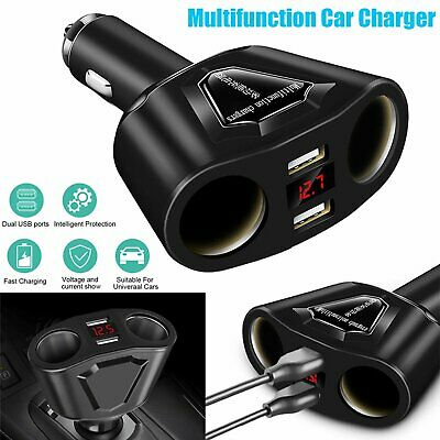 Car LCD Cigarette Lighter Socket Splitter DC 12V Dual USB Charger Power Adapter~