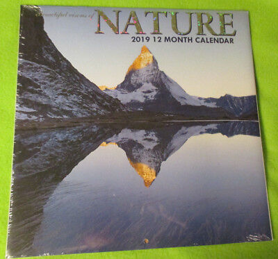 """2019 """" NATURE """"  MONTHLY WALL 12X12"""" Calendar - SCENIC WILD LandScapes - NEW"""